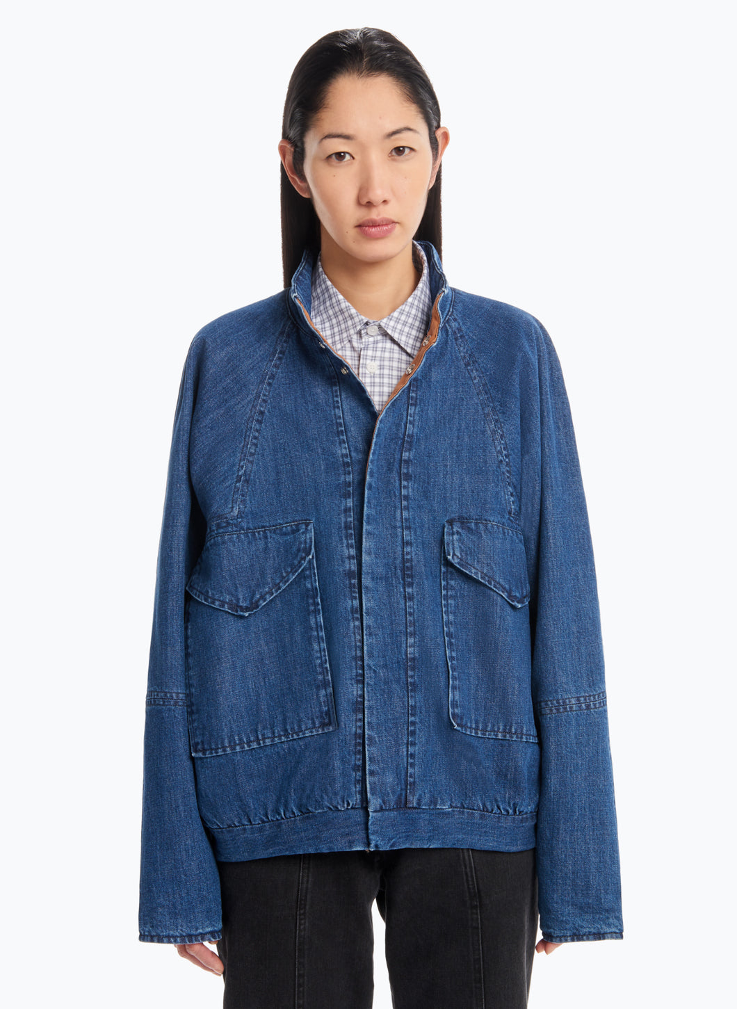 Bomber Jacket with Origami Collar in Stoned Denim