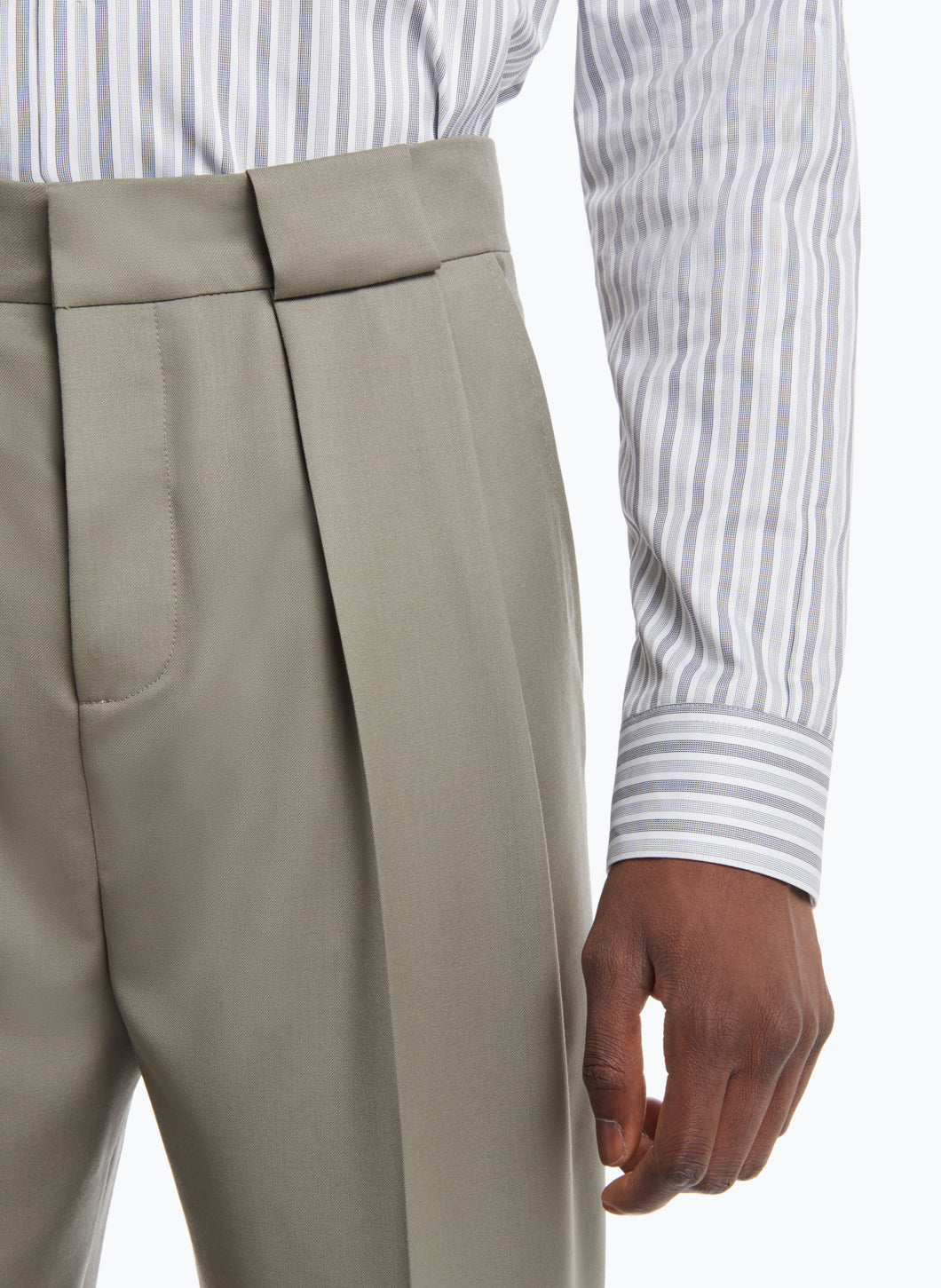 Pants with Passers-Pleats in Clay Cool Wool