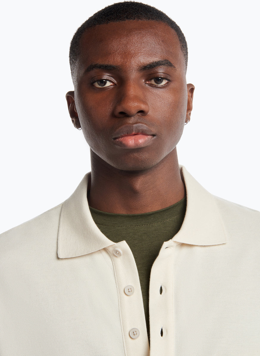 Poloshirt with Chest Patch Pocket in Ivory Cotton Piqué
