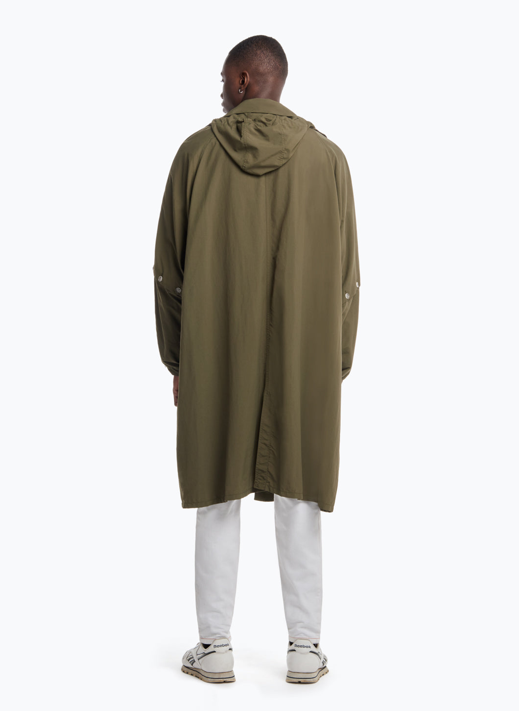 Hooded Overcoat in Olive Microfiber