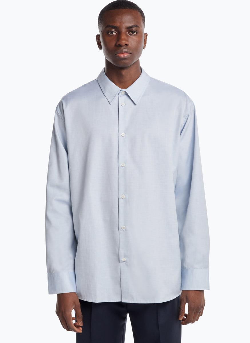 Shirt with Classic Collar in Light Blue Poplin