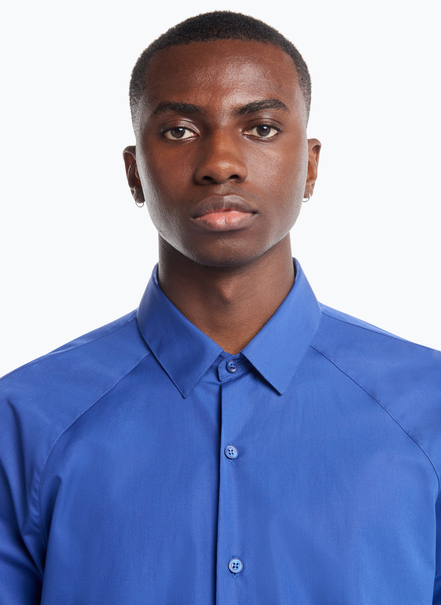 Raglan Sleeve Shirt in Royal Blue Poplin