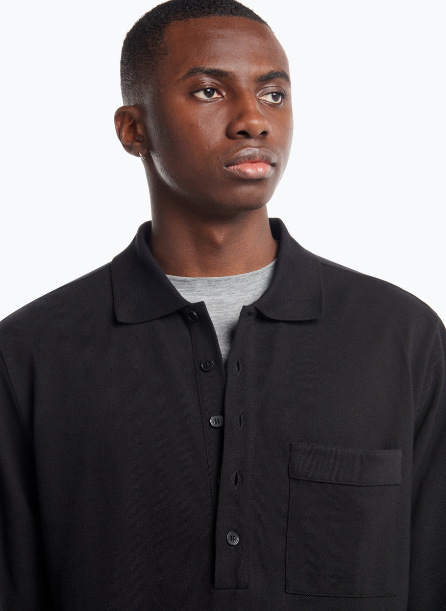 Poloshirt with Chest Patch Pocket in Black Cotton Piqué