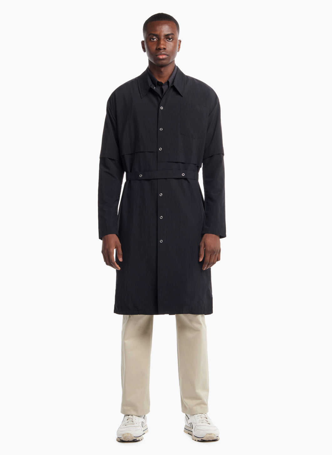 Asymmetrical Trench Coat in Black Microfiber Fabric