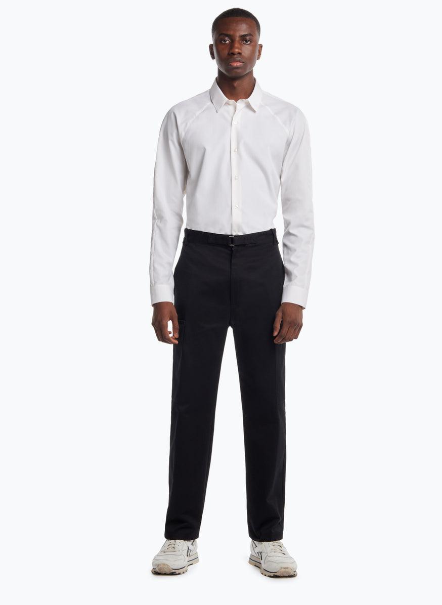 Pants with Cargo Pockets in Black Cotton Gabardine