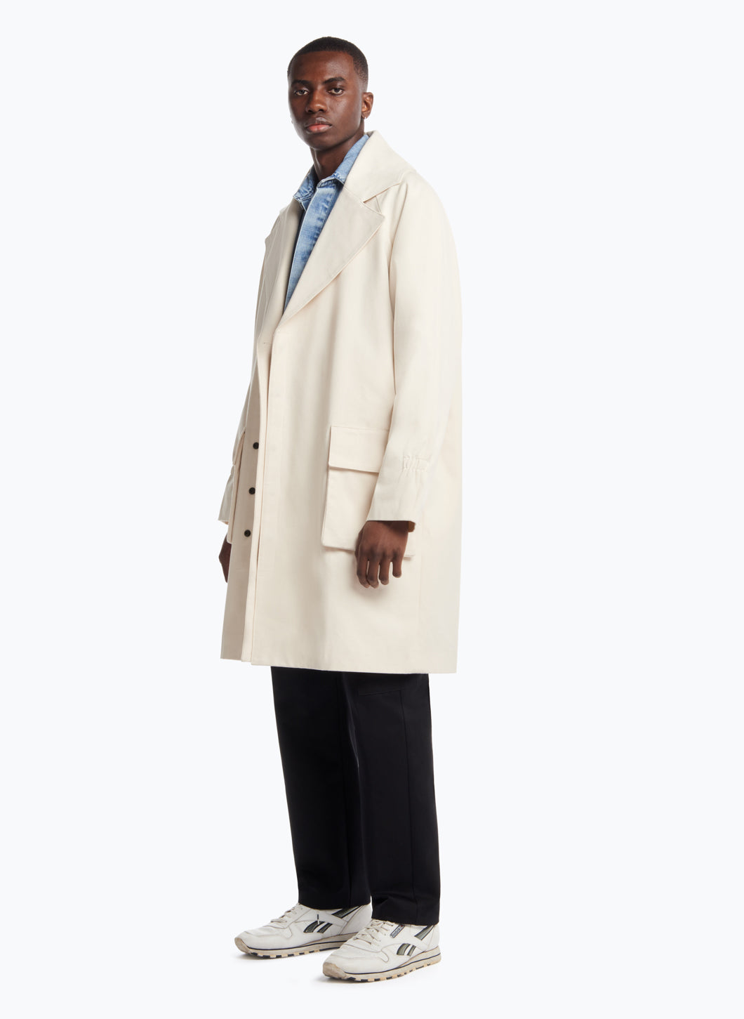 Double Breasted Overcoat in White Canvas