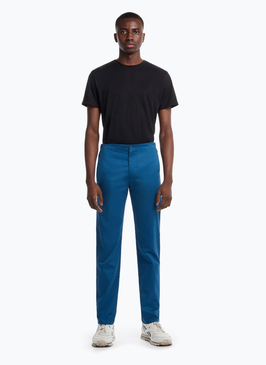 Pants with Notched Pockets in Peacock Blue Cotton Gabardine