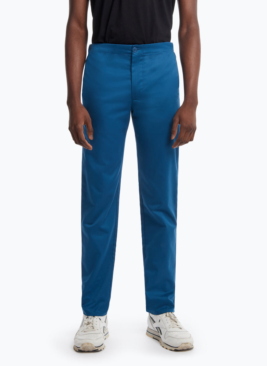Pants with Notched Pockets in Peacock Blue Gabardine