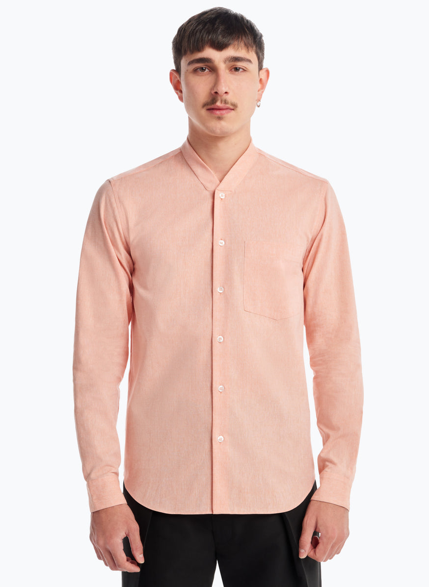 False Collar Shirt in Salmon Chambray