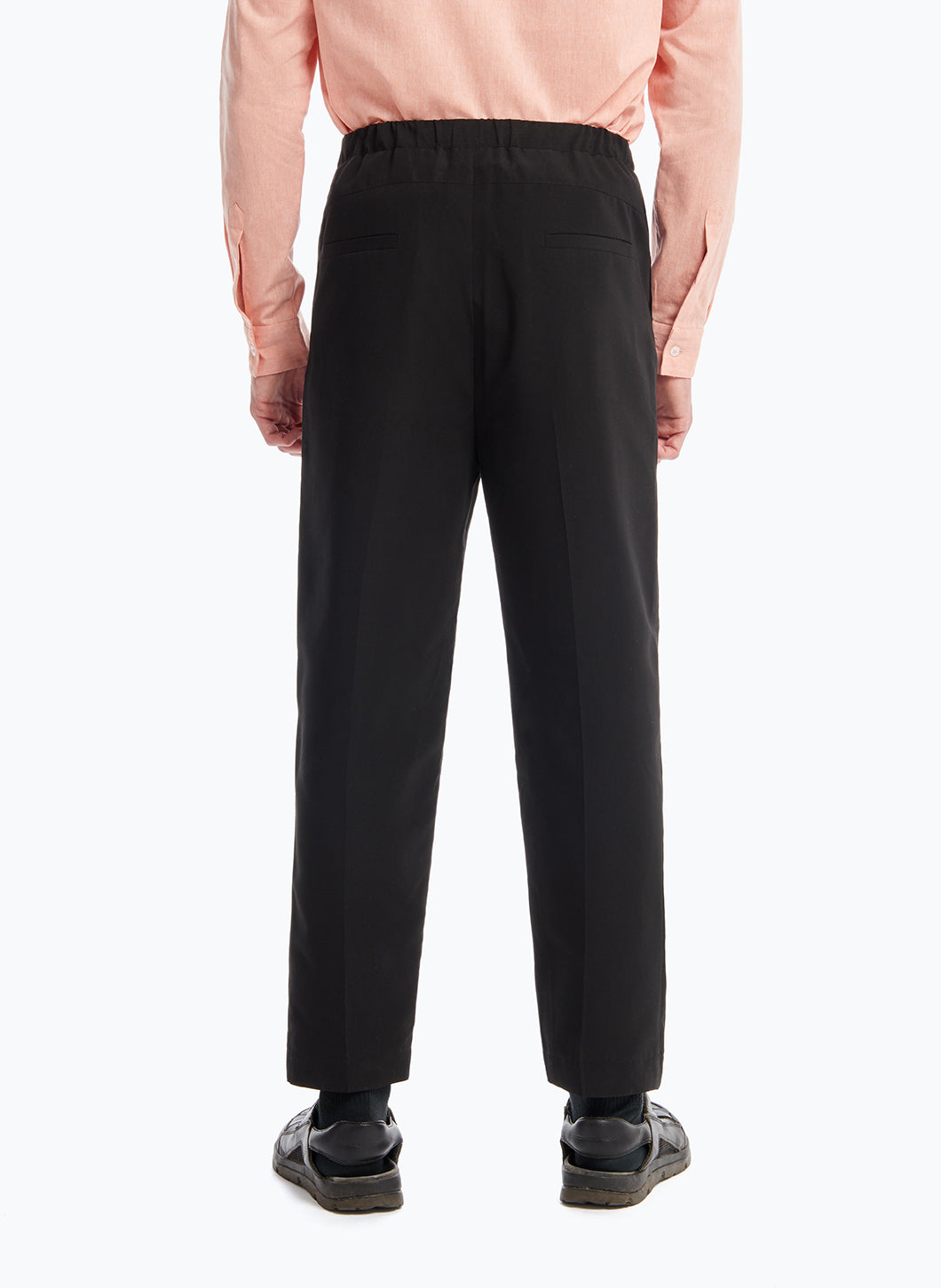 Elastic Waist Pants with Deep Pleats in Black Microfiber