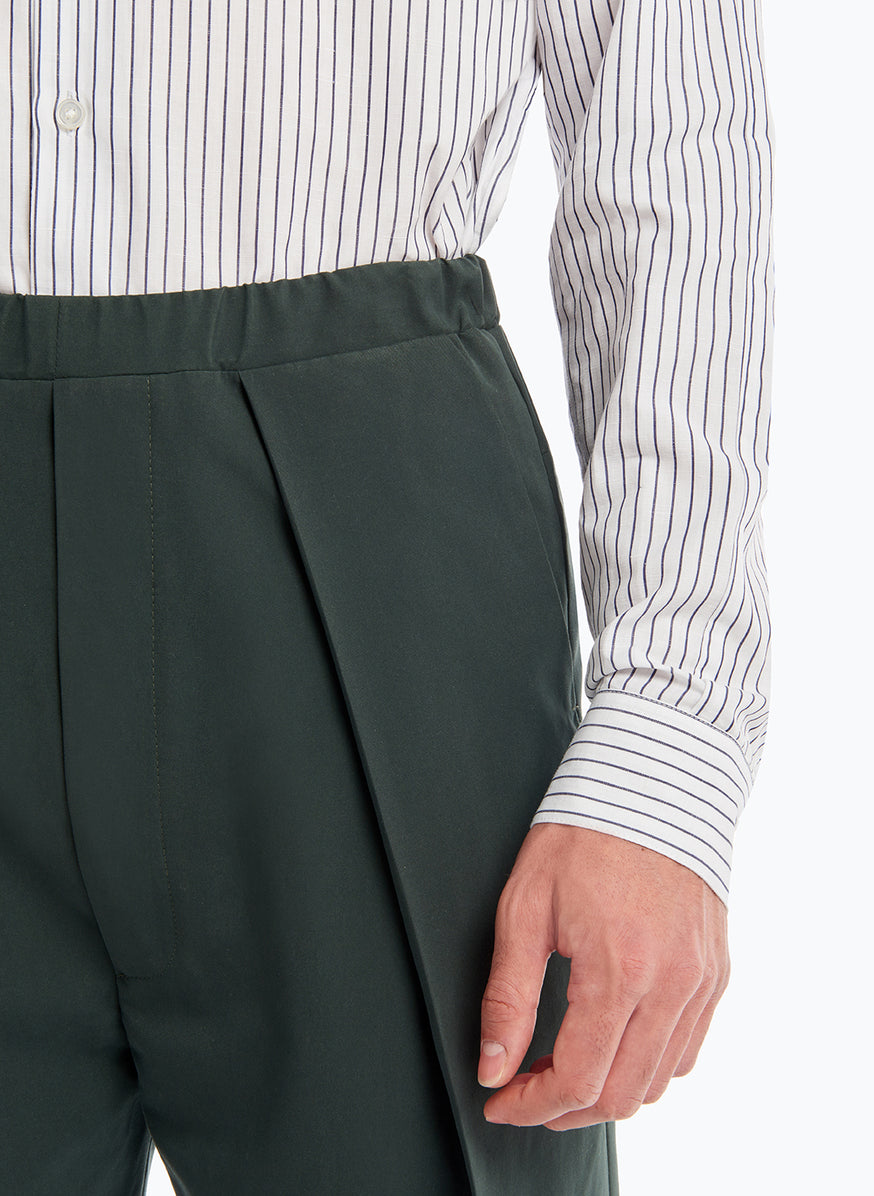 Elastic Waist Pants with Deep Pleats in Bottle Green Microfiber
