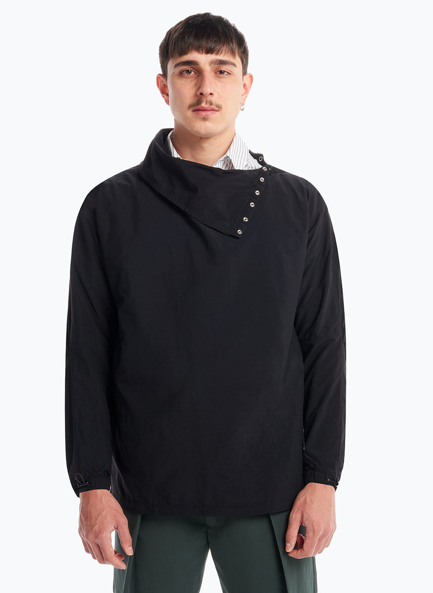 High Funnel Neck Sweatshirt with Side Buttons in Black Microfiber