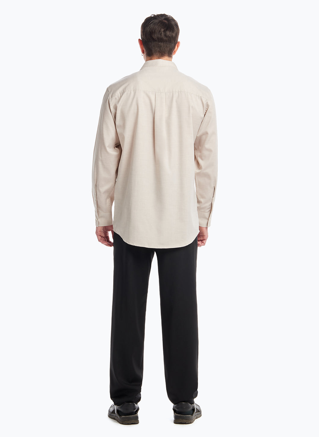 Shirt with Classic Collar in Beige Poplin