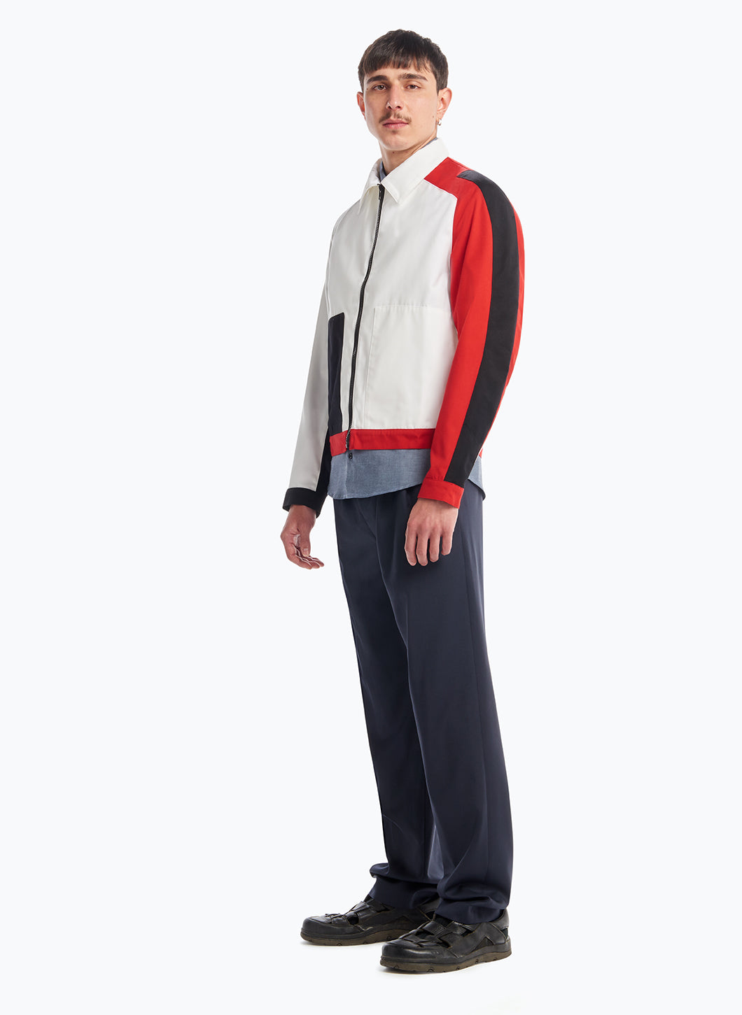 Jacket with Asymmetrical Cuts in Red, Black & White Teflon