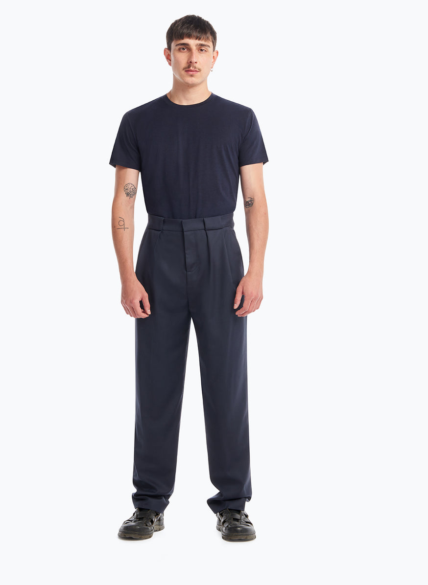 Pants with Passers-Pleats in Navy Blue Cool Wool