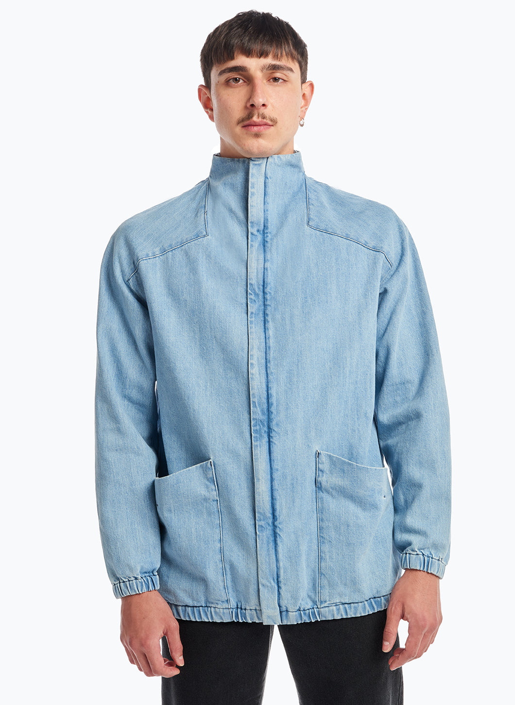 Bomber Jacket with Funnel Neck in Bleached Denim
