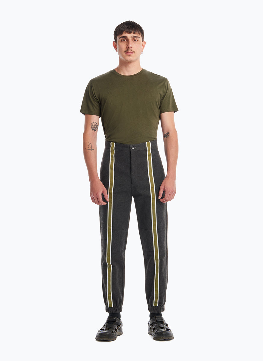 Pants with Vertical Bands in Dark Grey Cotton Ripstop with Green Satin Trim