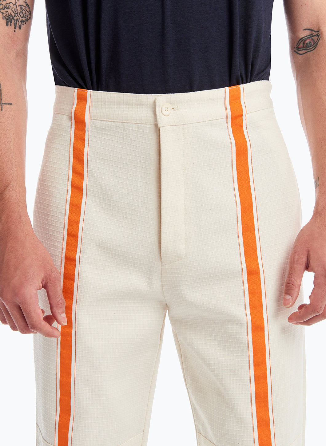 Pants with Vertical Bands in White Cotton Ripstop with Orange Satin Trim