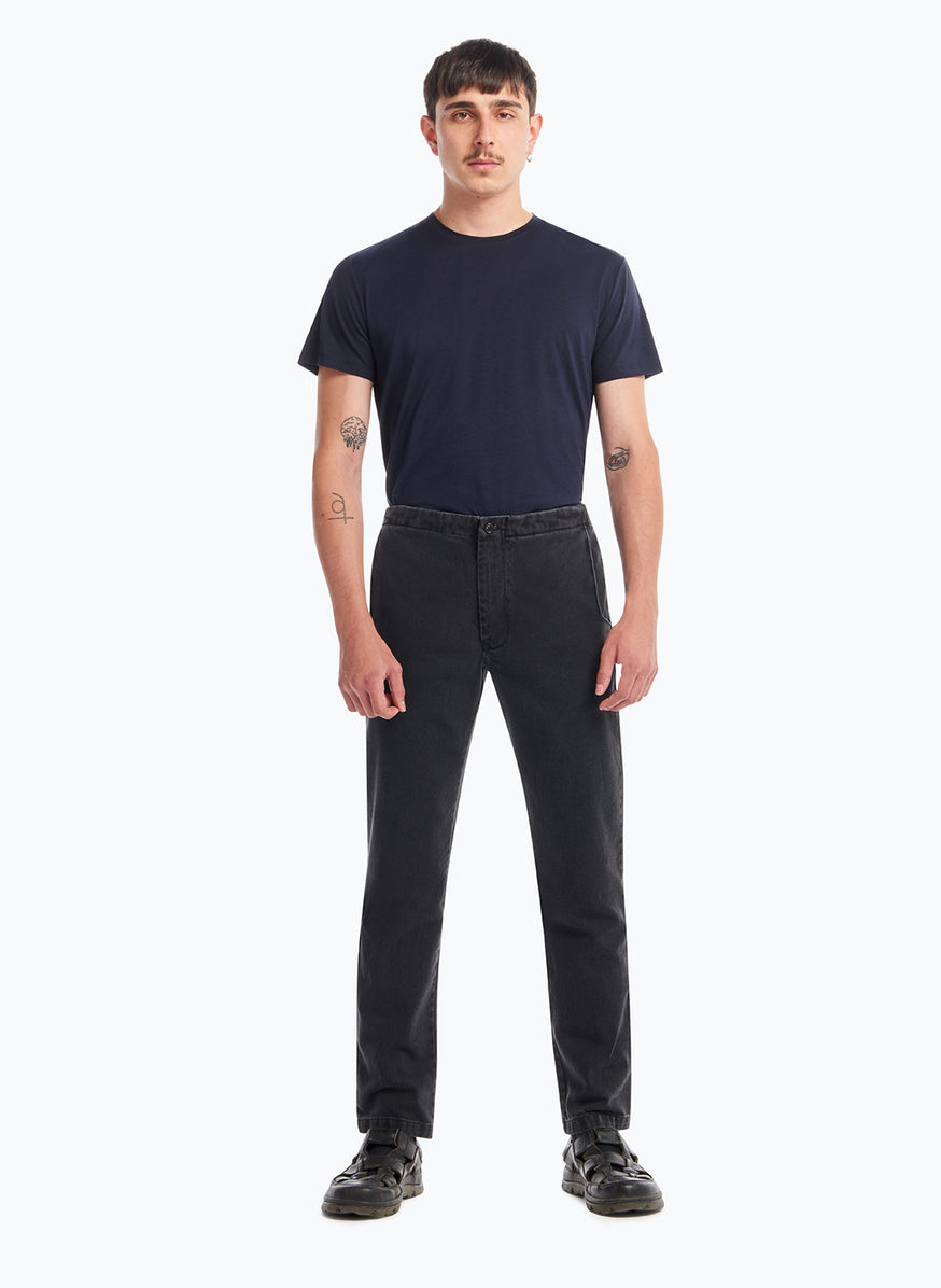 Pants with Notched Pockets in Black Denim