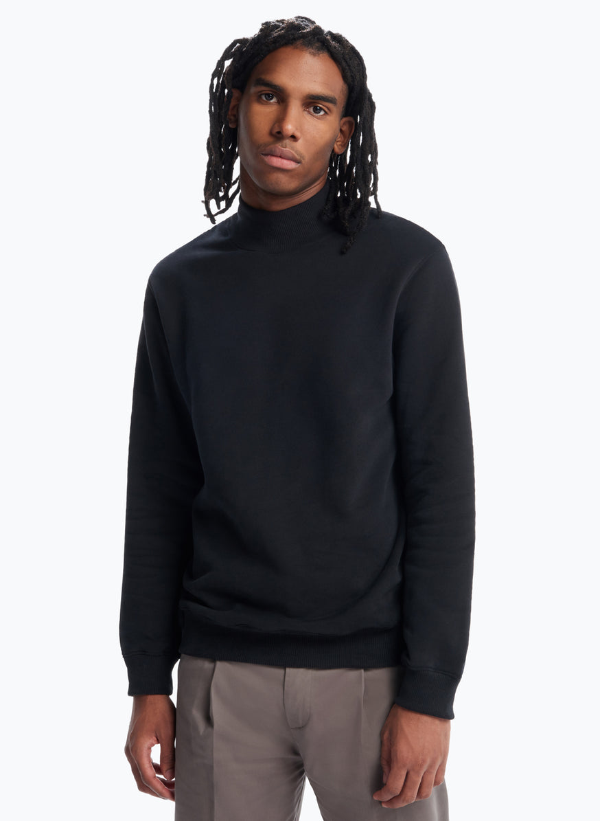 Funnel Neck Sweatshirt in Black Fleece