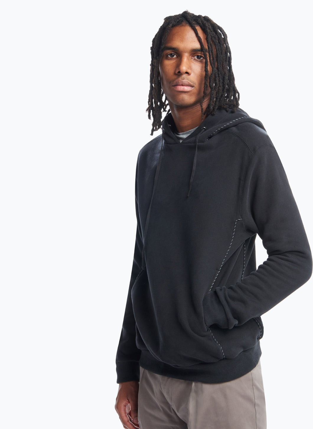 Hooded Sweatshirt with Cuts in Black Fleece with Black Trim