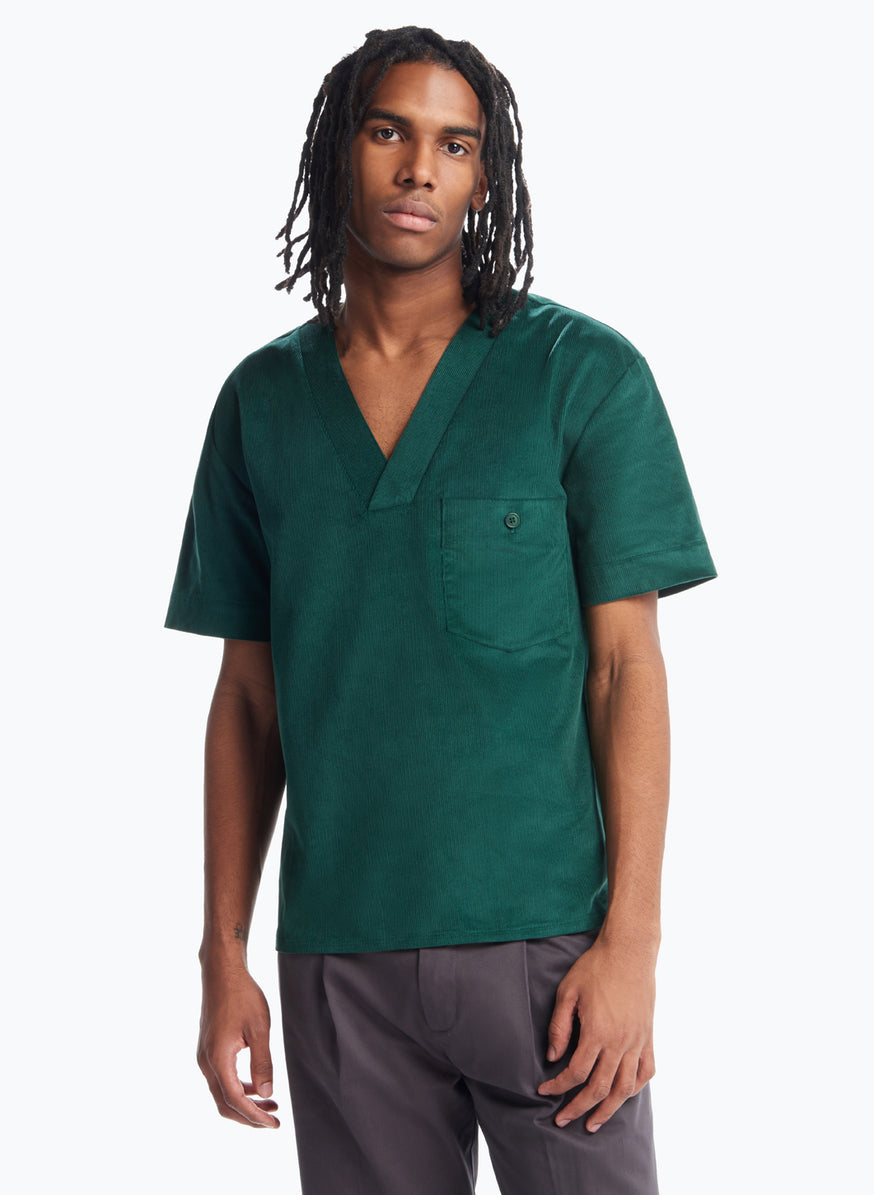 Boubou T-Shirt in Emerald Green Corduroy