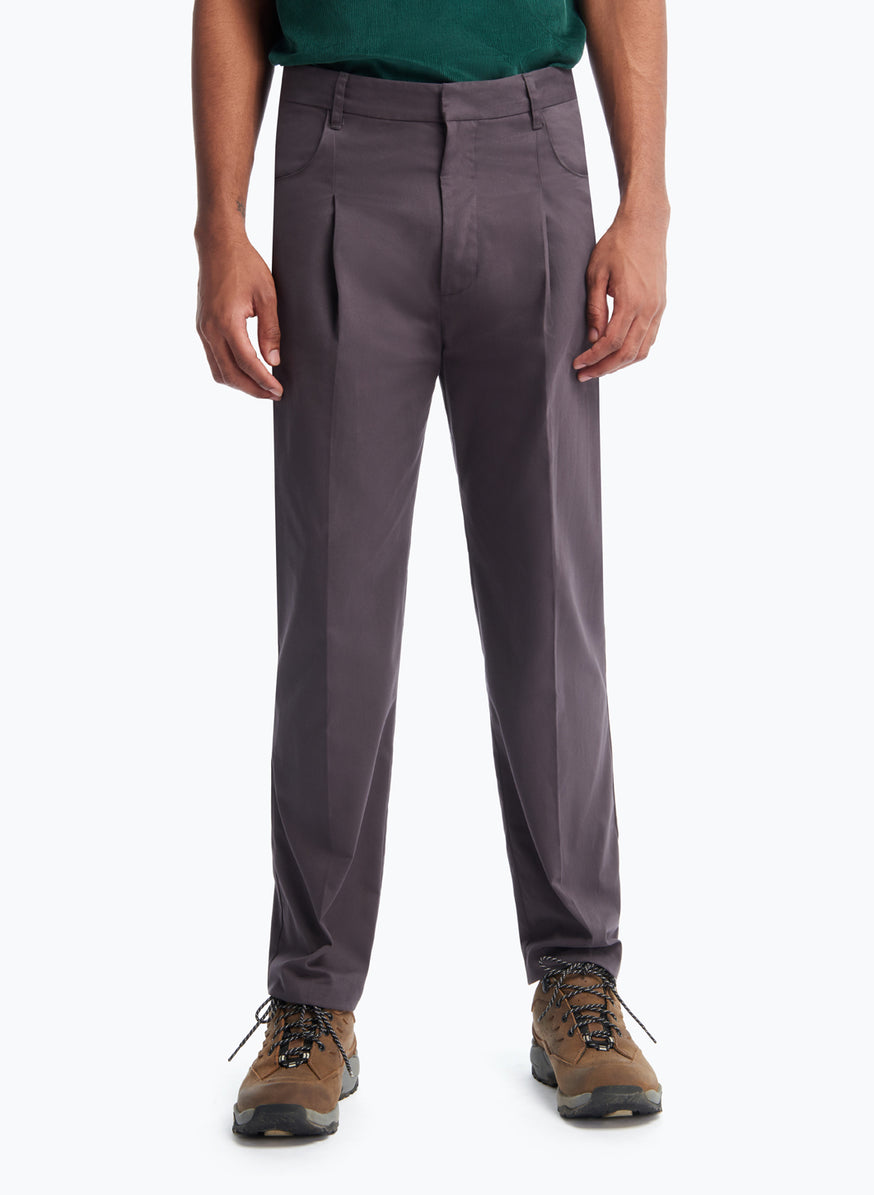 Pants with Hip Pockets in Slate Grey Cotton Satin