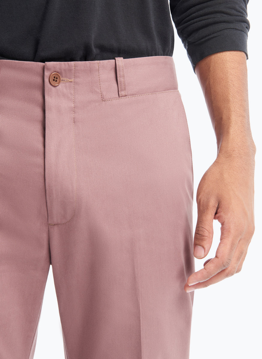 Pants with Inlayed Belt in Copper Pink Cotton Satin