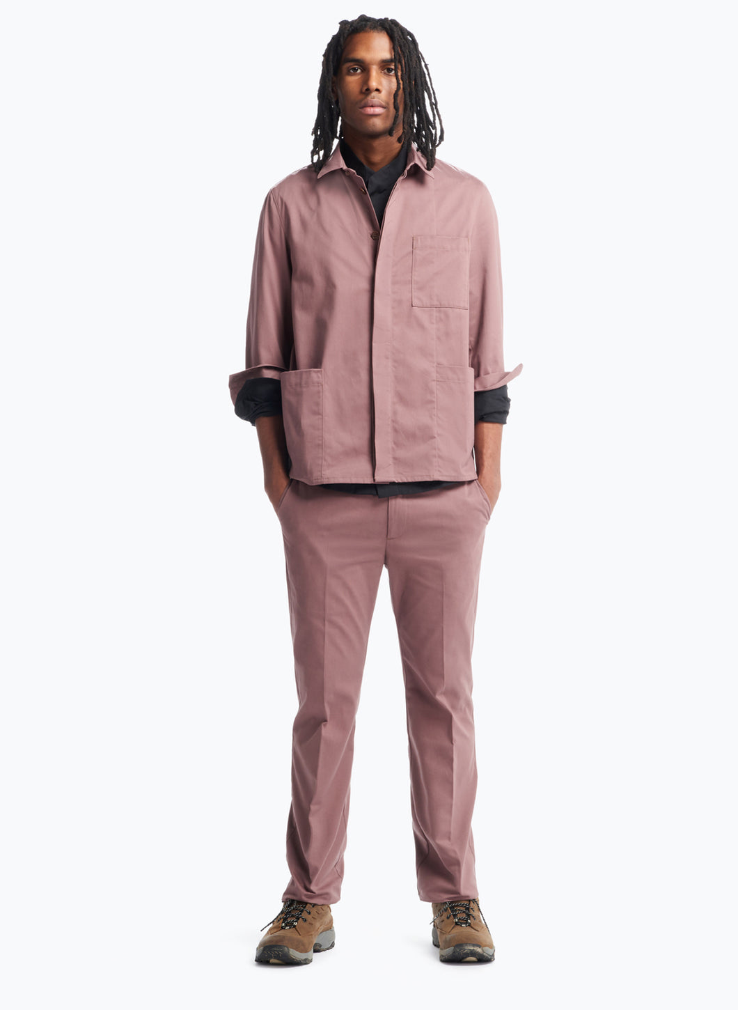 Overshirt with Front Cuts in Copper Pink Cotton Satin
