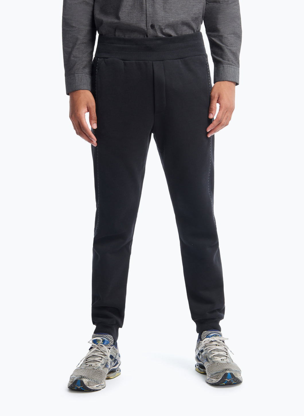 Sweat Pants with Side Cuts in Black Fleece with Black Trim