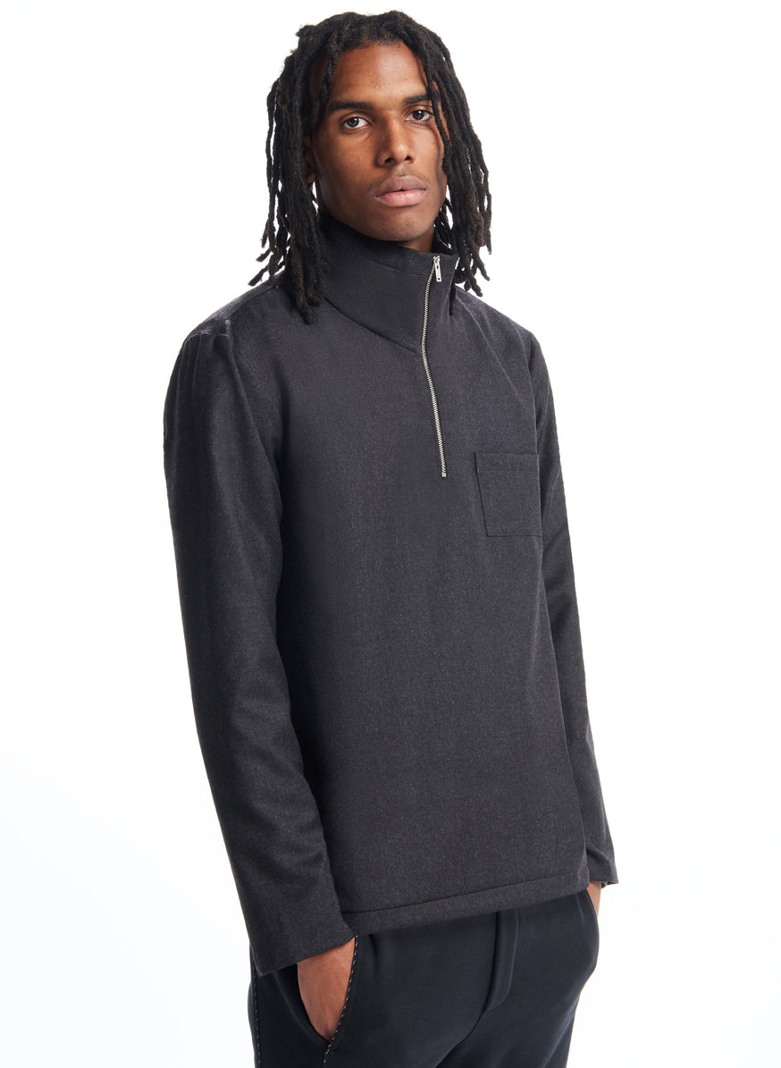 Zipped Neck Sweatshirt in Dark Grey Flannel Wool