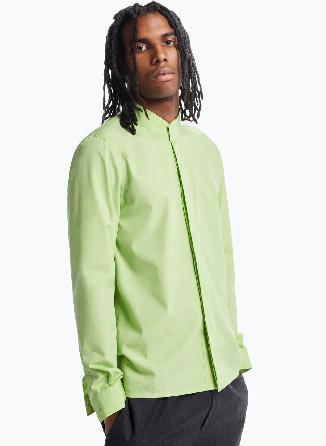 Origami Collar Shirt in Lime Green Poplin
