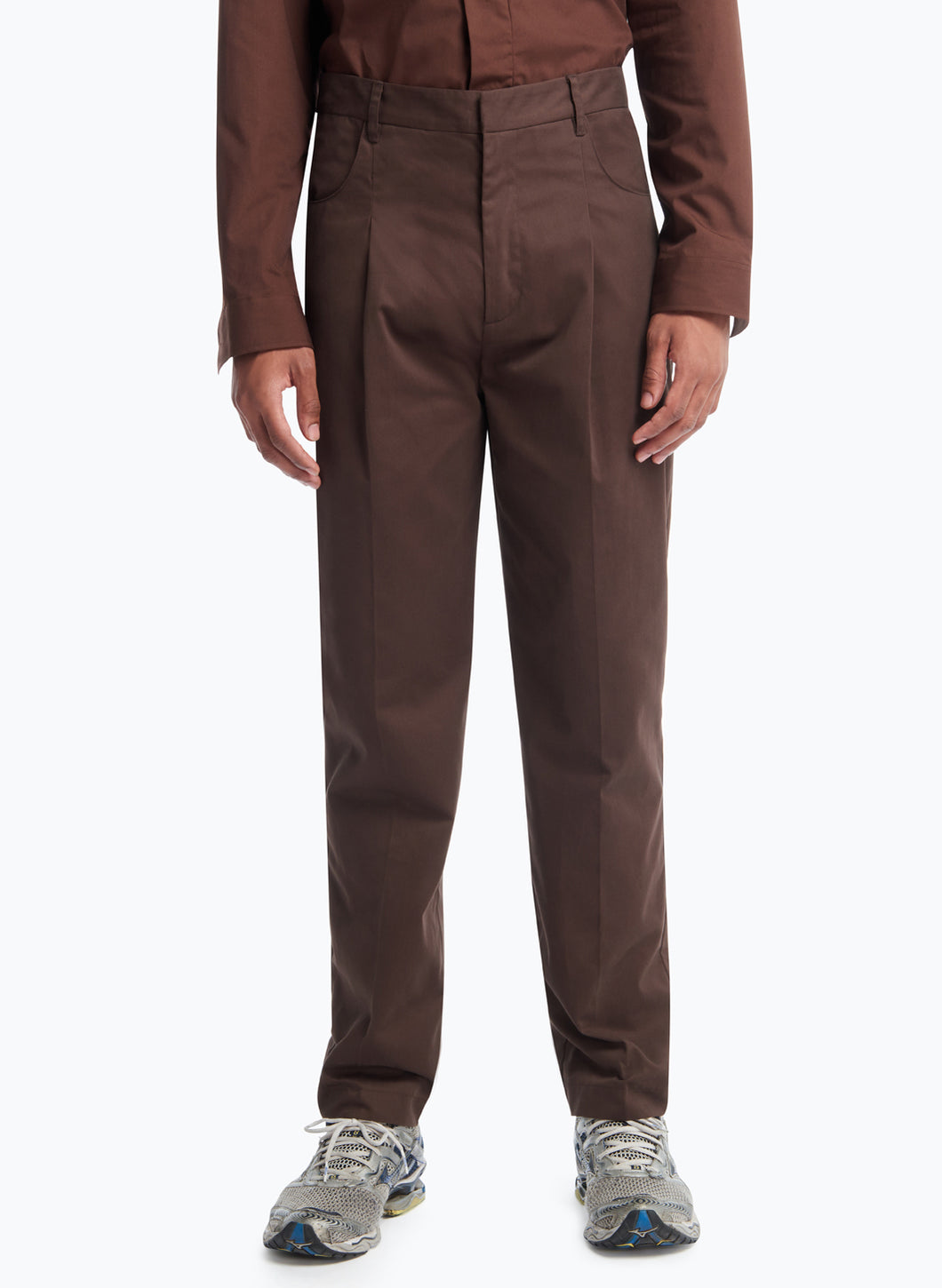 Pants with Hip Pockets in Chocolate Cotton Satin