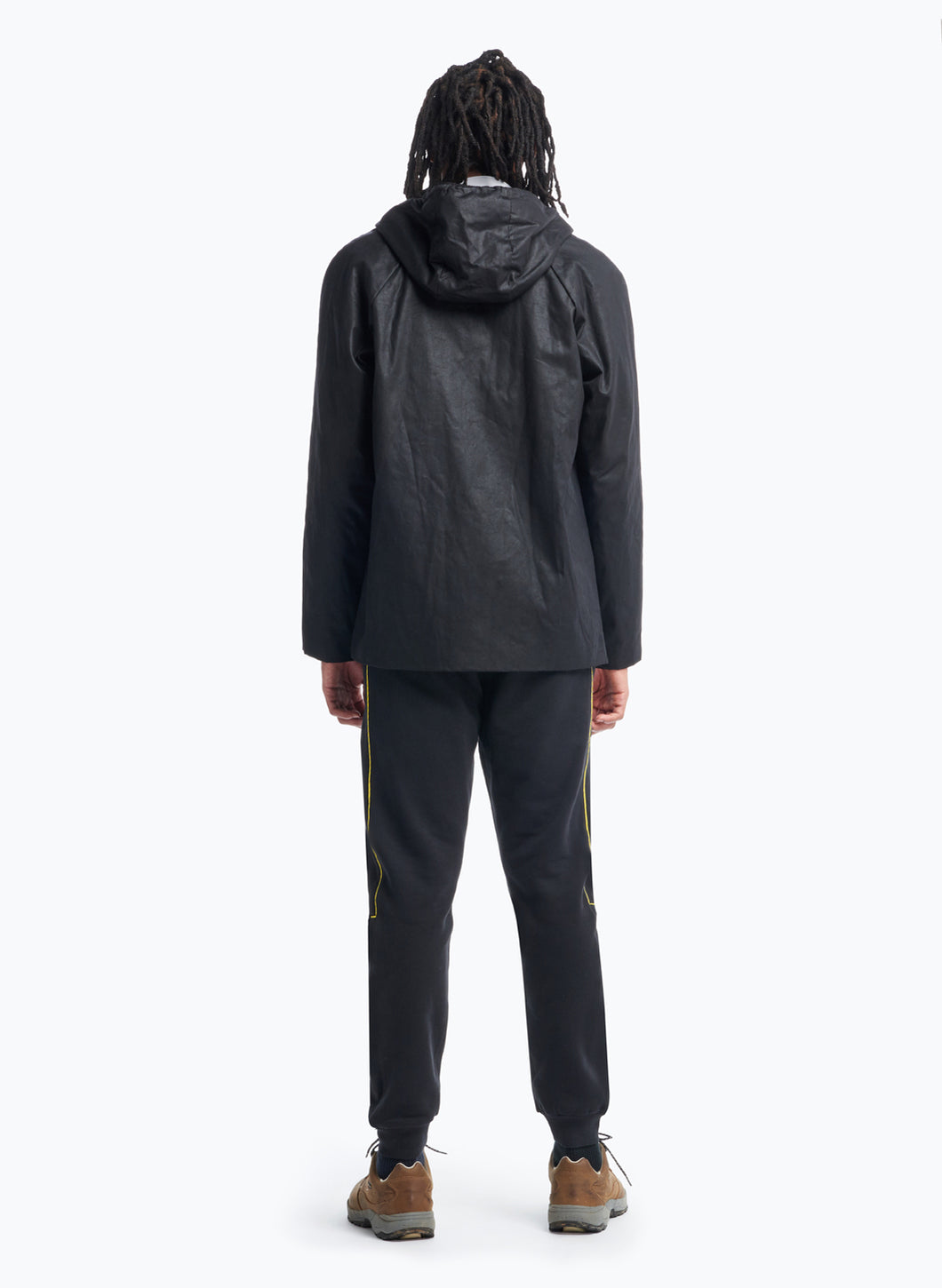 Raglan Sleeve Parka in Black Waxed Cotton Twill