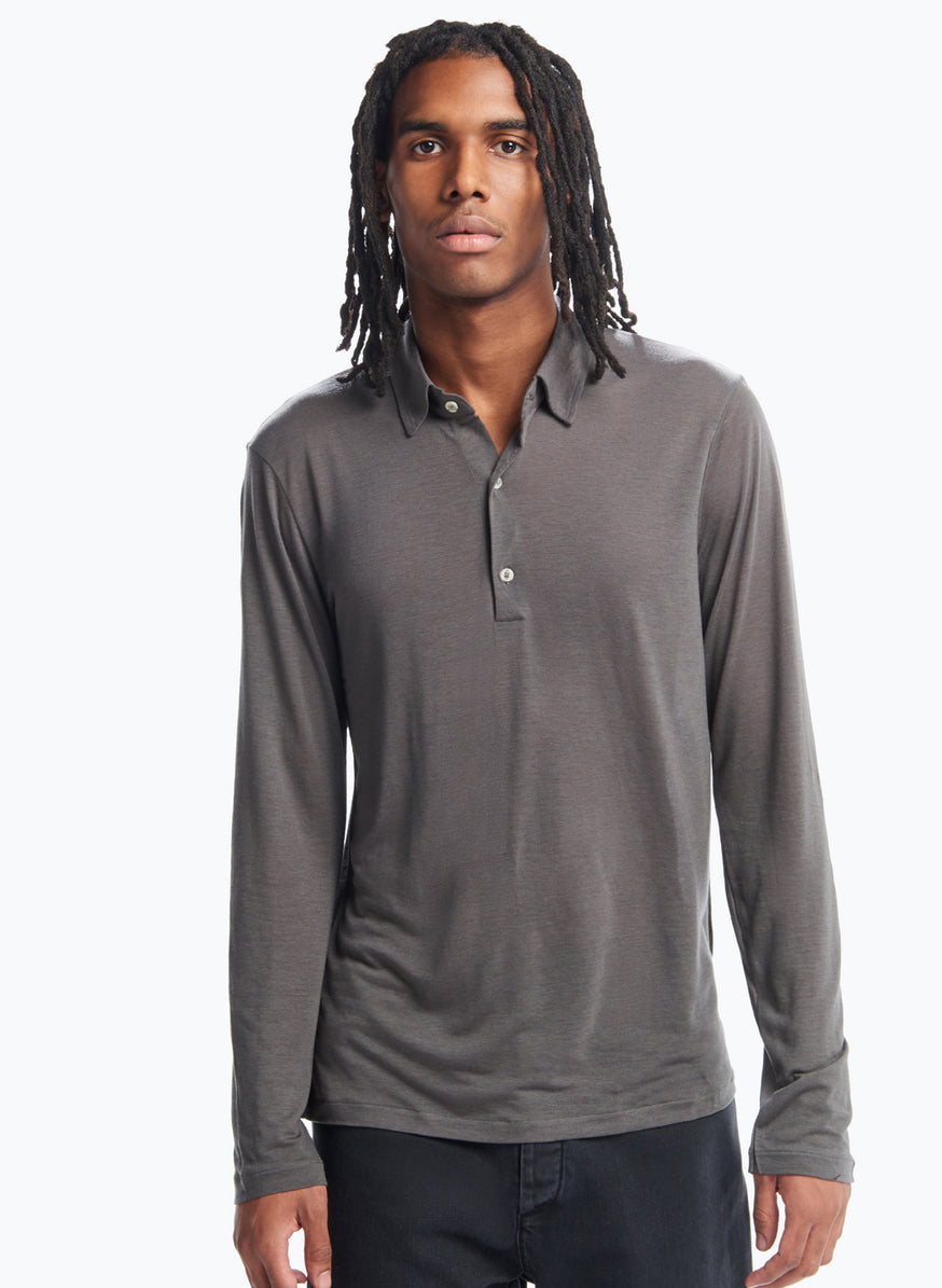 Long Sleeve Poloshirt in Charcoal Tencel