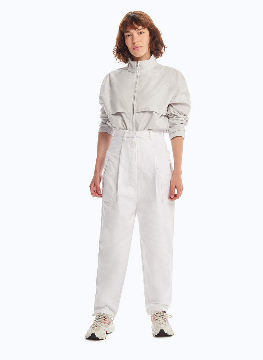Pants with Pleated Patch Pockets in White Denim