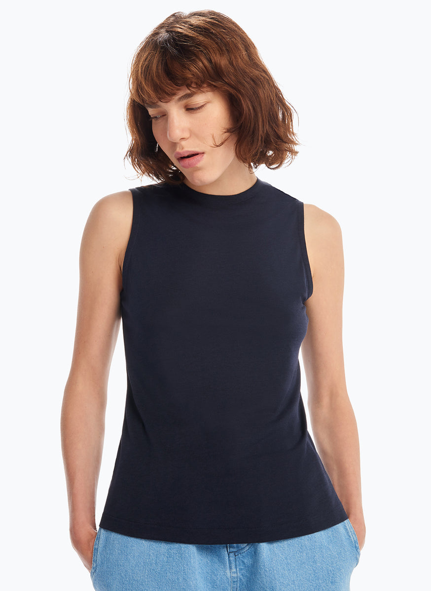 Sleeveless Top in Navy Blue Tencel