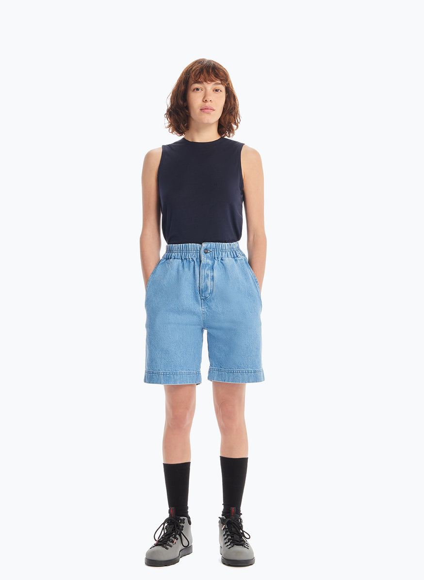 Bermuda Shorts with Stitched Waist in Bleached Denim