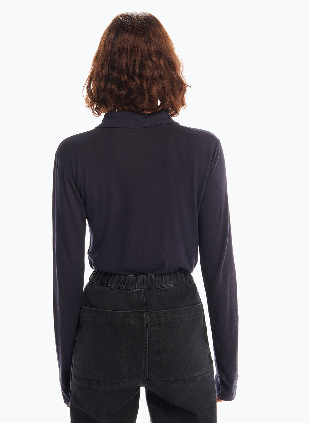 Long Sleeve Poloshirt in Navy Blue Tencel