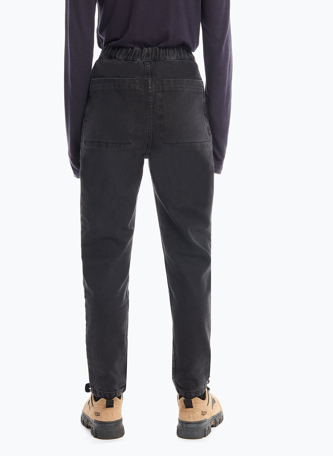 5-Pocket Pants with Front Cuts in Black Denim