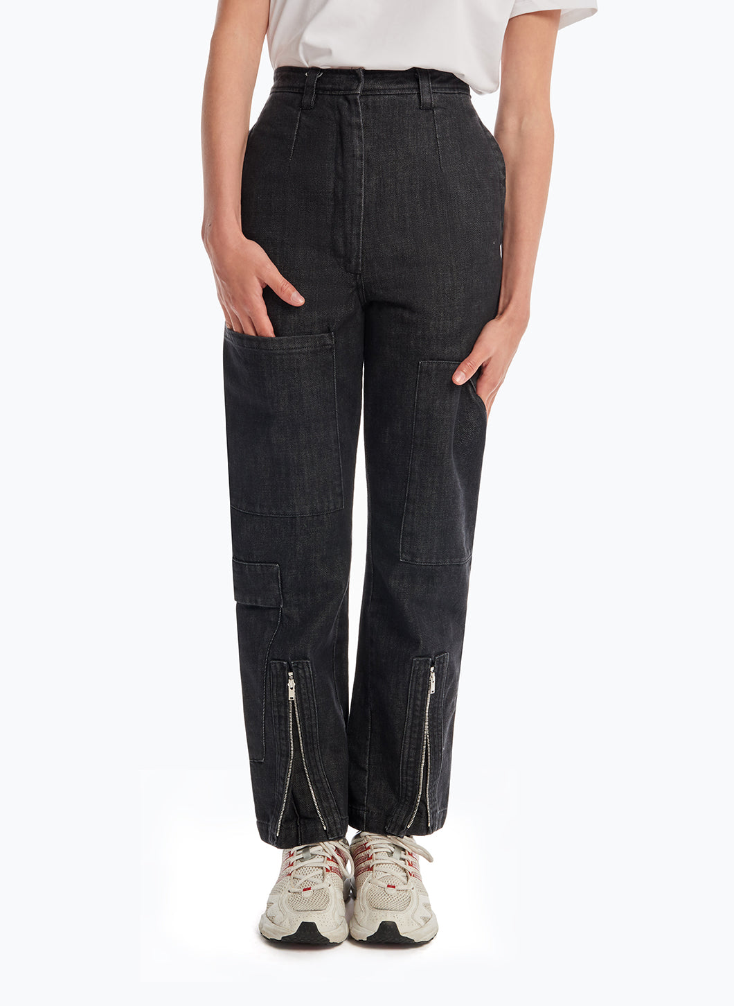 Cargo Pants with Multiple Pockets in Rinsed Denim