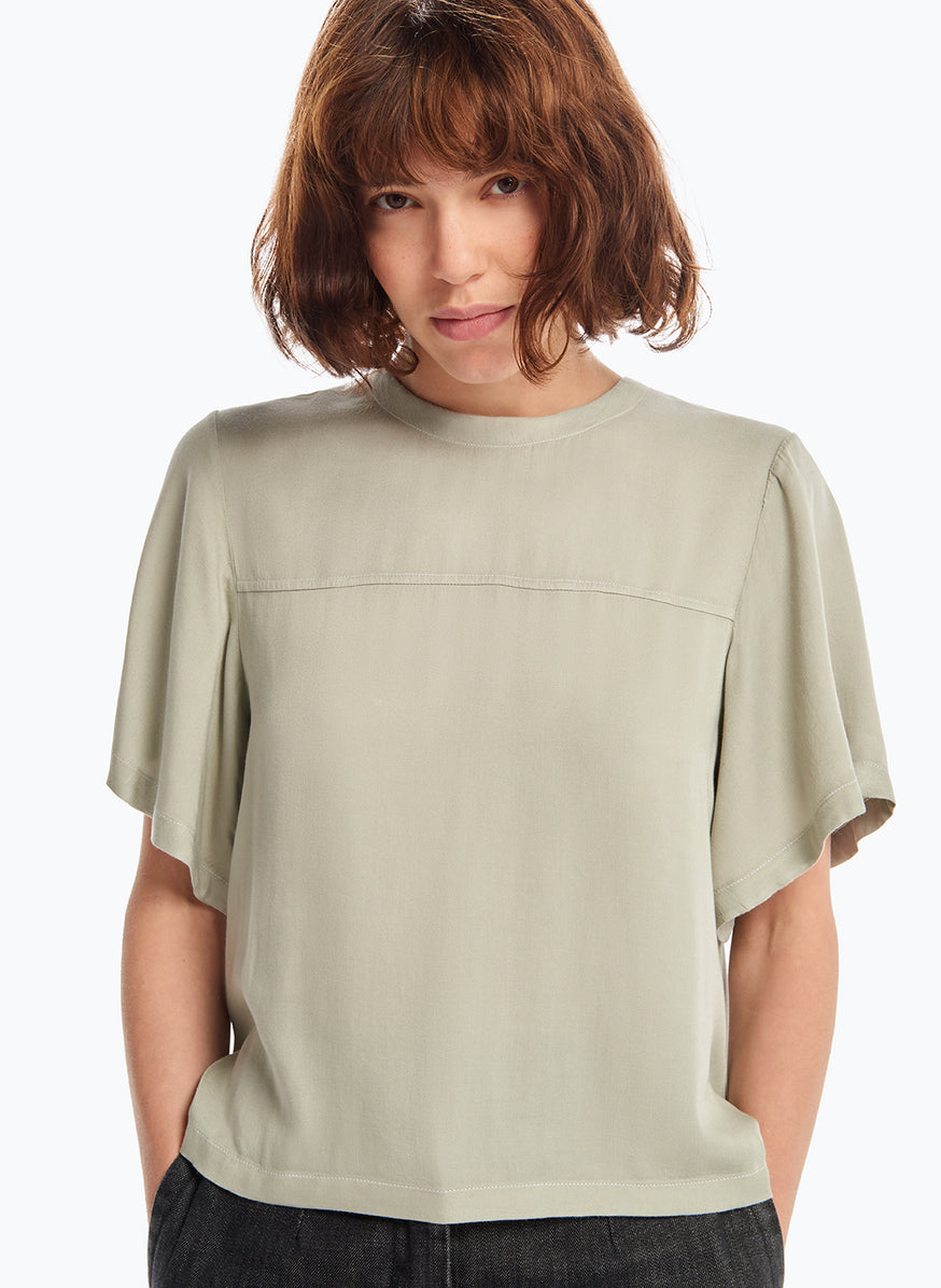 Butterly Sleeve Top in Clay Viscose Satin