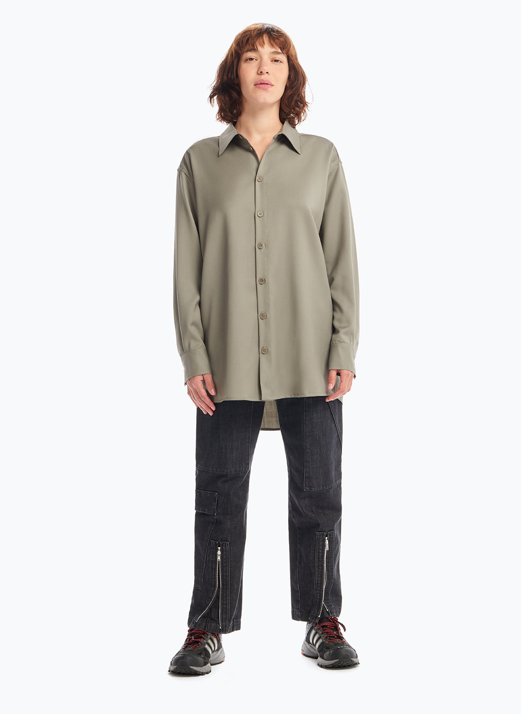 Overshirt with Classic Collar in Clay Cool Wool