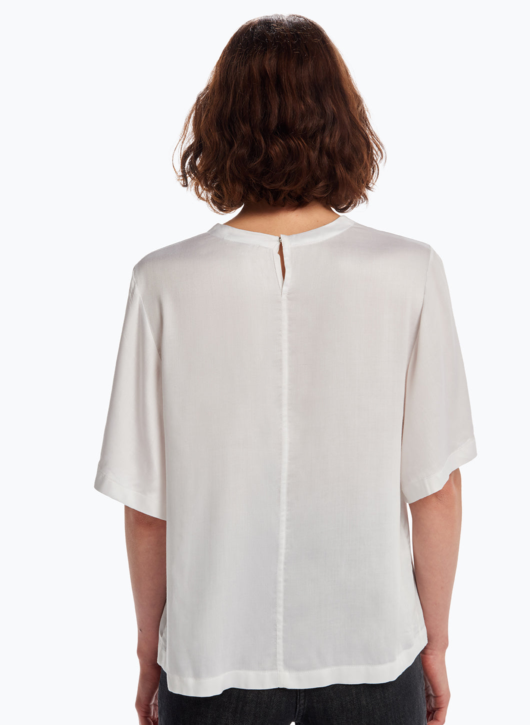 Butterly Sleeve Top in White Viscose Satin