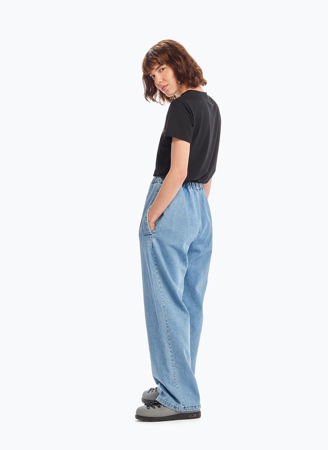 Elastic Waist Pants with Tie in Bleached Denim