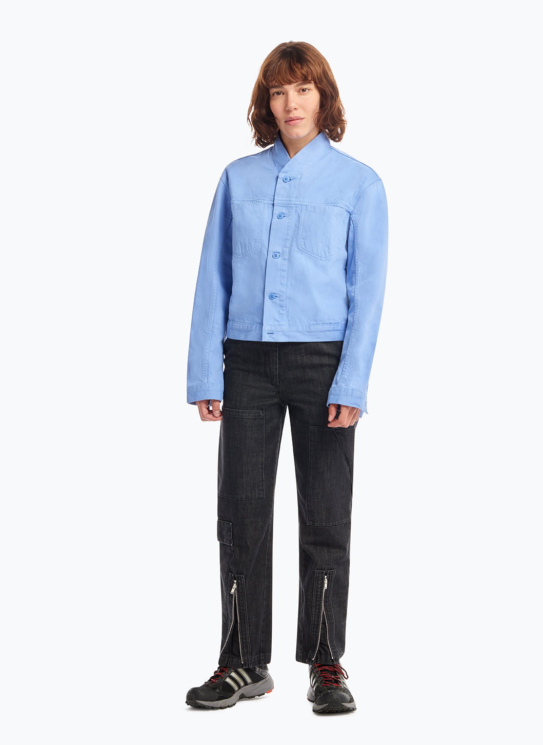 False Collar Jacket in Light Blue Denim