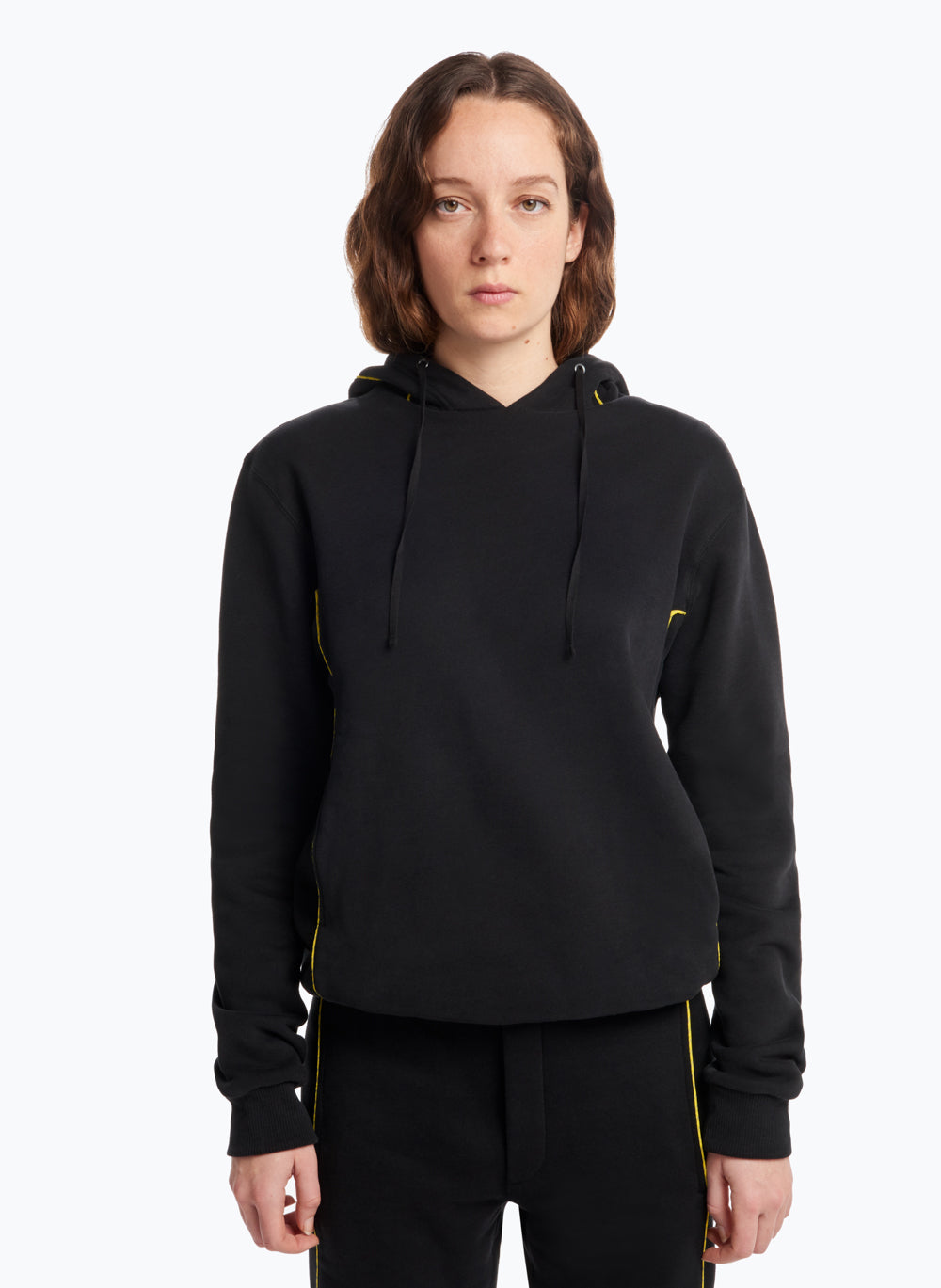 Hooded Sweatshirt with Side Cutouts in Black Fleece with Yellow Trim