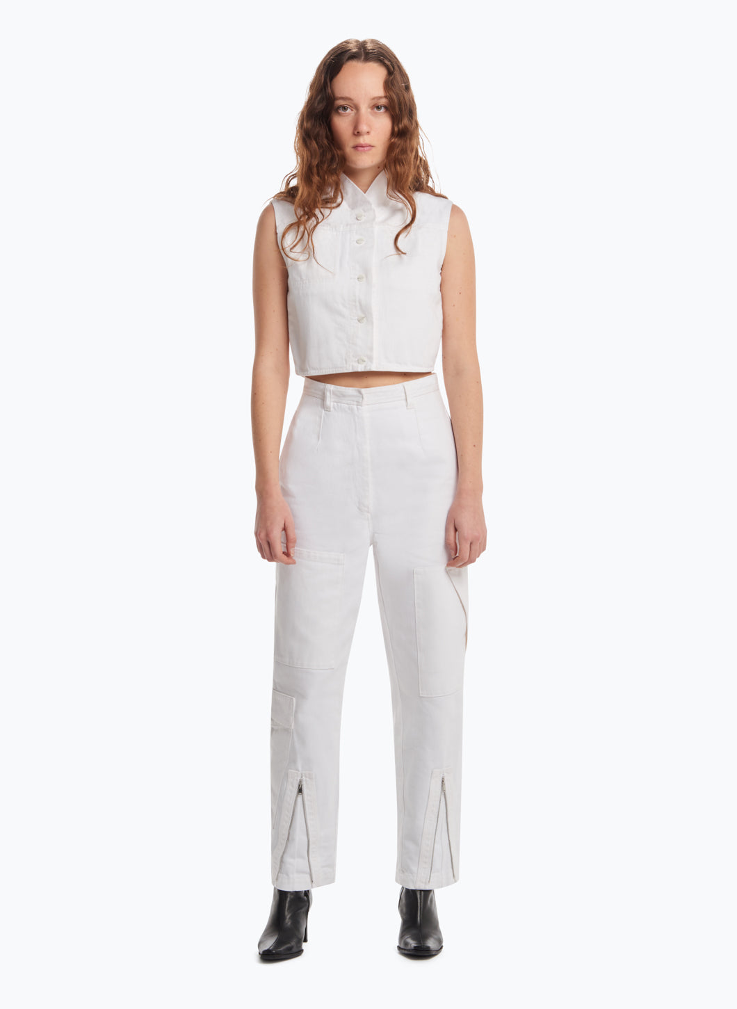 Cargo Pants with Multiple Pockets in White Denim