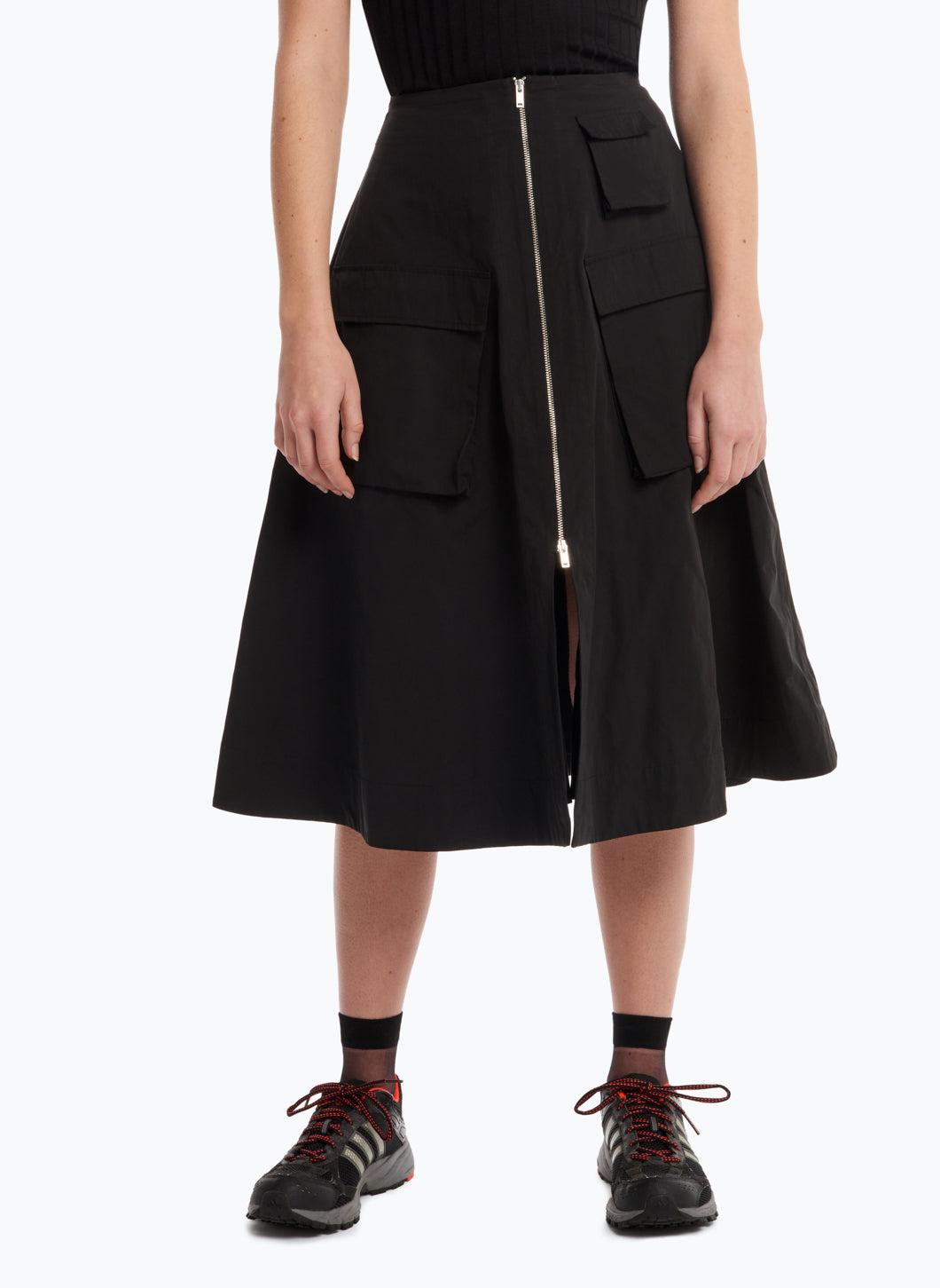 Safari-Skirt with Puffed Pockets in Black Microfiber Fabric