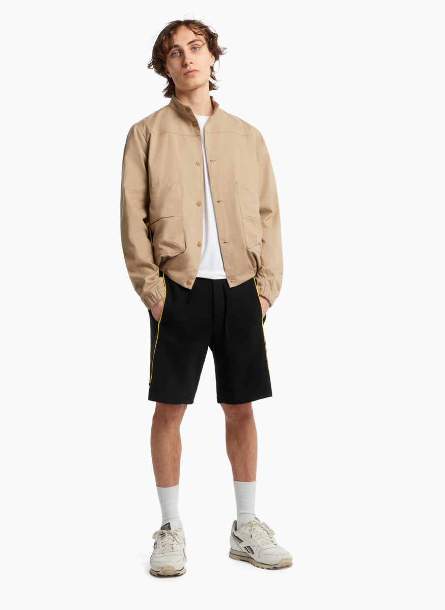 Bomber Jacket with Puffed Pockets in Beige Teflon